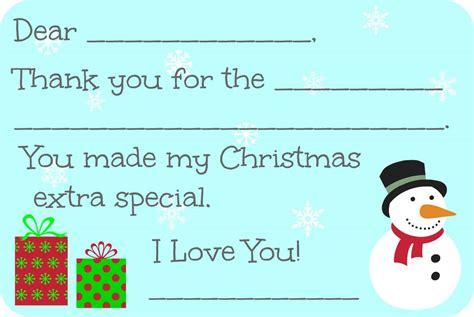 free printable christmas thank you cards for kids free fill in the blank christmas thank you cards free printable