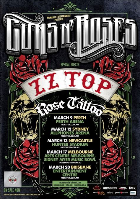 rose tattoo tour history guns n roses australian tour with special guests zz top