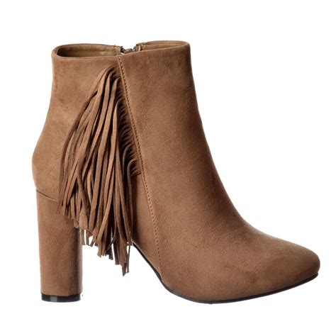 boots with tassels shoekandi tassel and fringe suede block heeled ankle boot