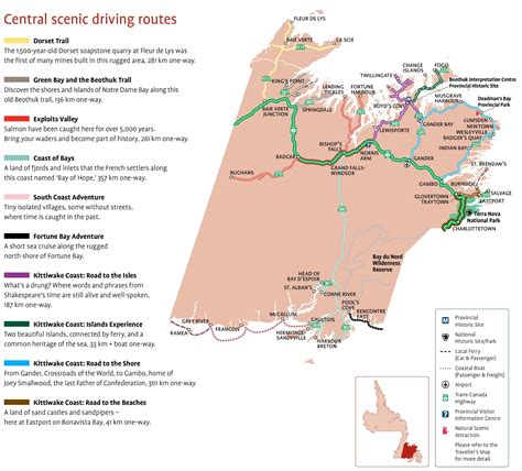 maps directions driving canada central newfoundland scenic driving routes map