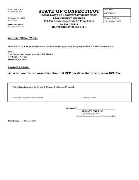 Offer Letter Addendum Microsoft Word Rfp Addendum 1