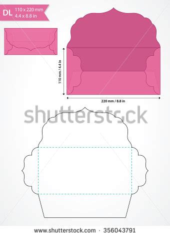 envelope box template die cut vector envelope template with swirly flap stock