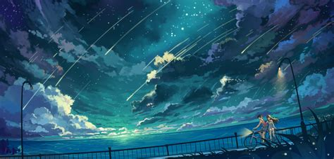wallpaper anime ocean wander under the stars full hd wallpaper and hintergrund