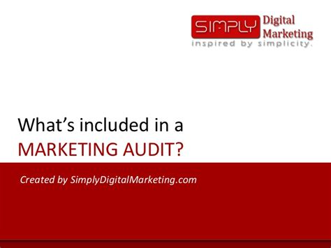 What S Included what s included in a marketing audit