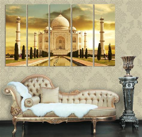home interior pictures wall decor taj mahal india modern home decor canvases set of 5 home