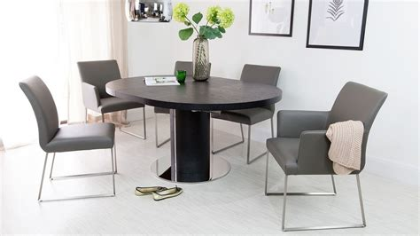 round dining table with armchairs modern real leather dining chair genuine leather hide uk