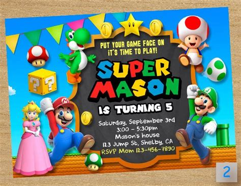 Super Mario Printable Super Mario Party Mario Chalkboard Mario Bros Birthday Invitation Templates