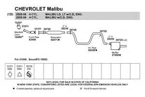 2005 Chevy Malibu Exhaust System Diagram Walker 174 52456 Chevy Malibu 2004 2005 Front Pipe