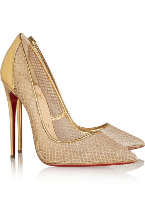 christian louboutin follies resille glitter fishnet gold shoes post