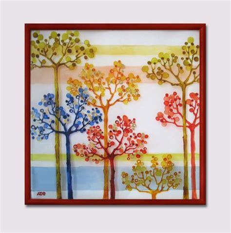 beautiful glass paint trees n leaves
