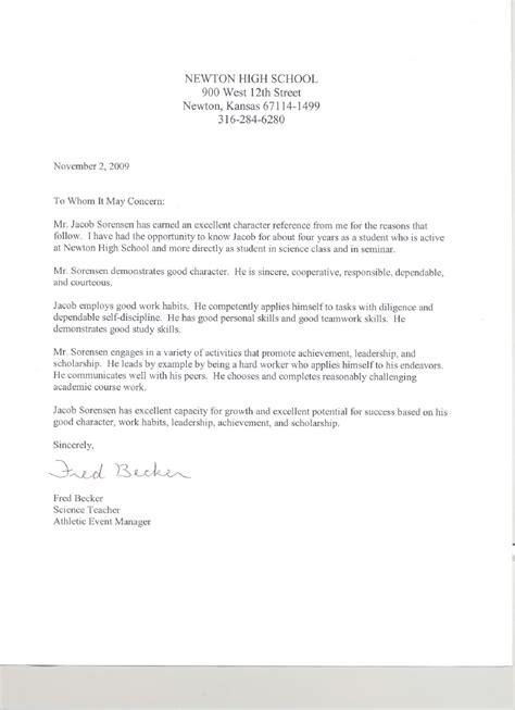 Character Reference Letter For College Scholarship Reference Letter From Fred Becker