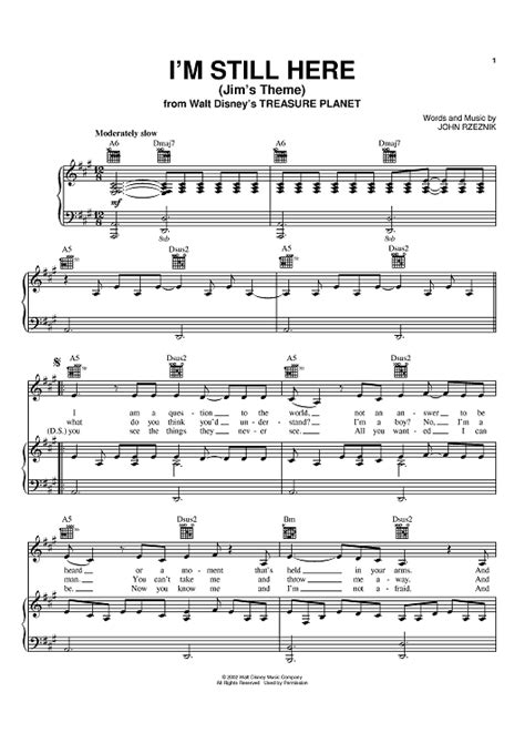 Im Still Here by I M Still Here Jim S Theme Sheet For Piano And