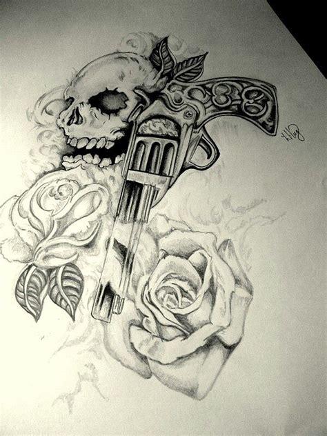 tattoo gun layout this revolver roses tattoo drawing skull black and