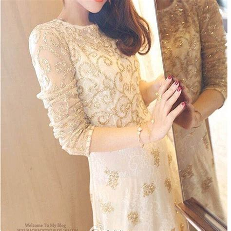 pattern gold sequin dress luxury style handmade embroidery long sleeve white lace