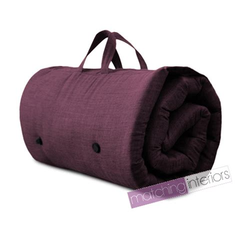 futon bed roll plum purple travel guest sleepover mattress roll up futon