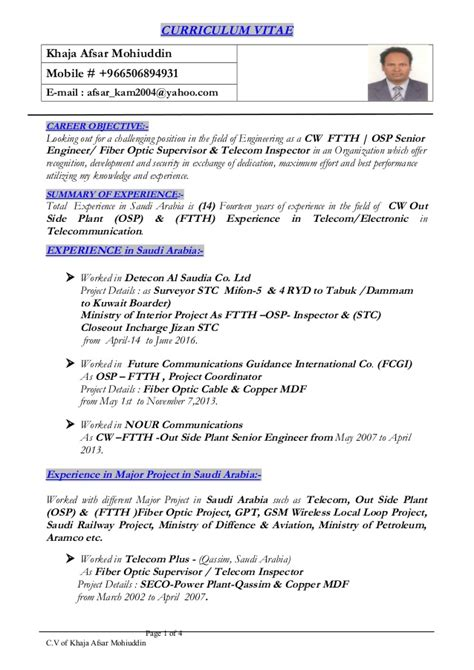 Fiber Optics Technician Sle Resume by Afsar Cw Ftth Osp Senior Engineer Resume