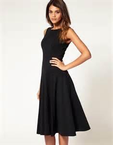 asos asos midi fit amp flare dress with basqued waist at asos