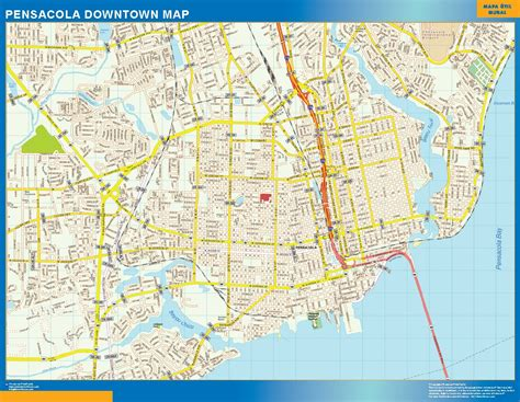 pensacola map world wall maps store pensacola downtown map more than 10 000 maps our pensacola