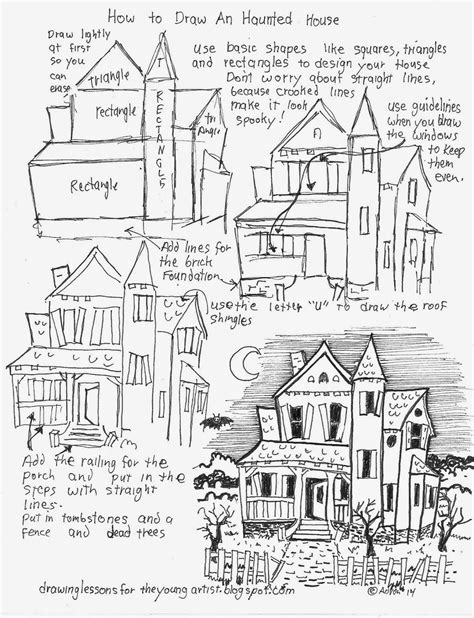 how to draw a haunted house how to draw worksheets for the young artist how to draw a haunted house free worksheet