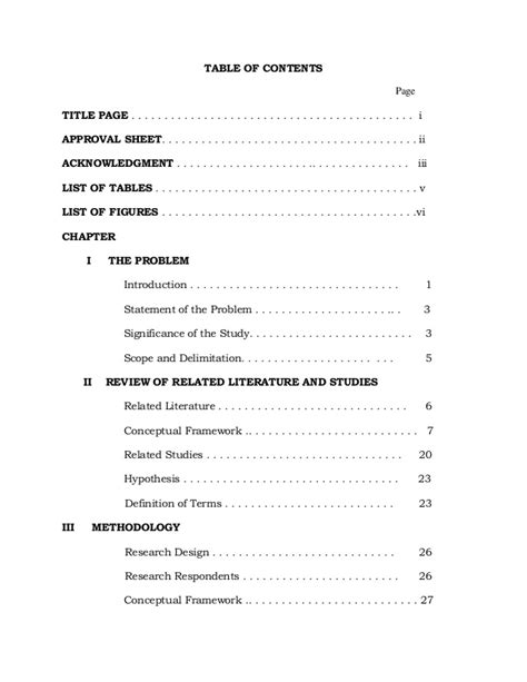 sle of table of contents in thesis thesis table of contents