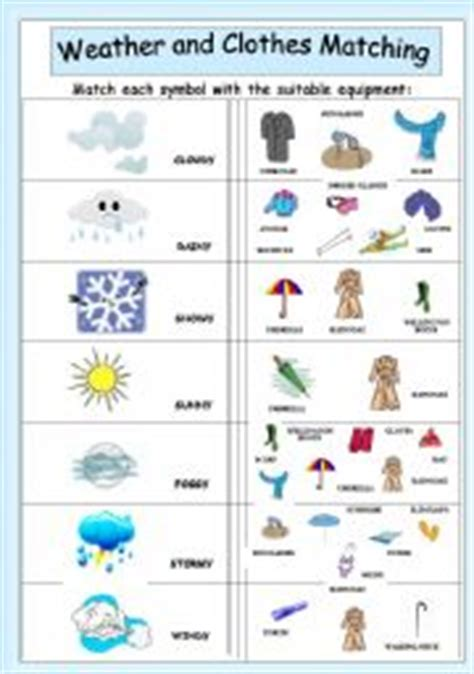 clothes for different seasons worksheet english worksheet weather and clothes matching