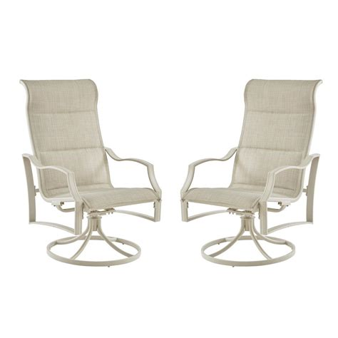 Outdoor Swivel Lounge Chairs hton bay statesville shell swivel aluminum sling outdoor lounge chair 2 pack fcm70366cs w