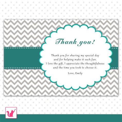 21st Birthday Thank You Card Templates by Printable Personalized Gray Chevron Thank You Card Note