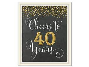 cheers to 40 years 40th birthday chalkboard sign 40th