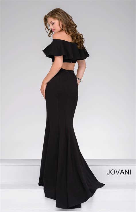 jovani  strapless flounce top  fitted skirt
