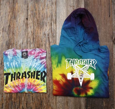 thrasher tie dye hoody and alive well capital