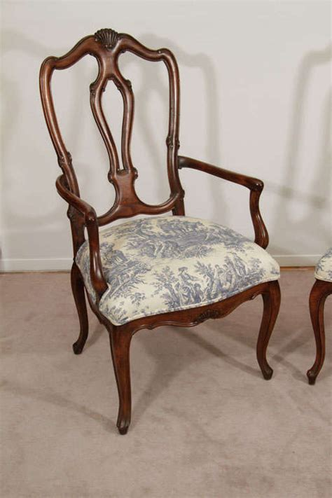Cherry Wood Dining Chairs by Set Of 8 Cherry Wood Dining Chairs In White And Blue Toile At 1stdibs
