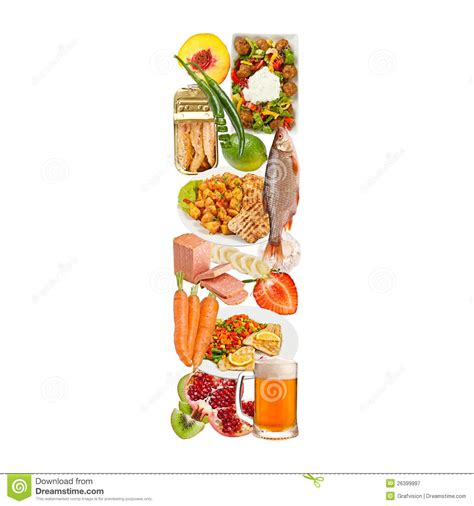 up letter with food letter i made of food royalty free stock photography