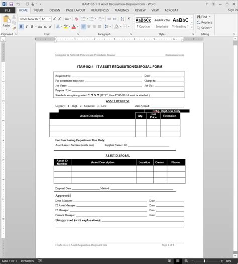 disposal form template it asset requisition disposal request template