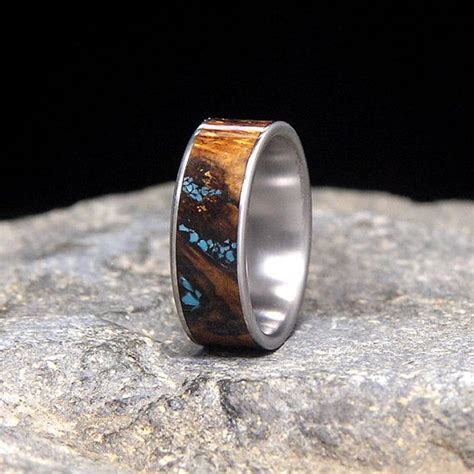spalted white oak burl wood turquoise inlay titanium