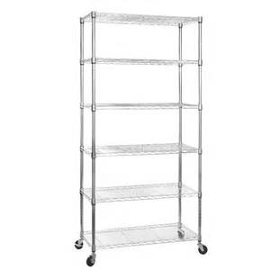 mobile chrome shelving unit with 6 shelves and wheels