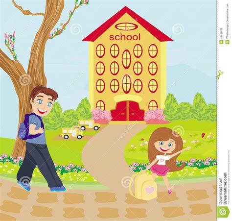 Imagenes Niños Que Van Ala Escuela | los ni 241 os felices van a la escuela ilustraci 243 n del vector