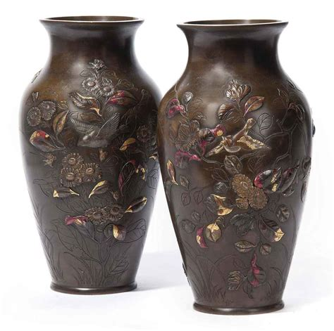 Vase Japanese by A Pair Of Japanese Bronze Vases 19th Century Christie S