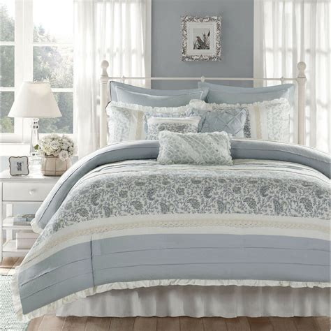 Bedding Set by Beautiful Pale Blue White Grey Shabby Country Chic Lace