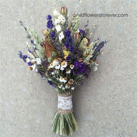 Wedding Bouquet Dried by Purple Dried Flower Wedding Bouquet Rustic