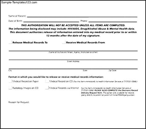 sle generic medical record release form best exle