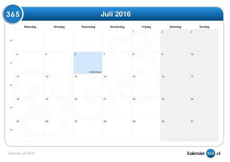 Kalender 2016 Juli Kalender Juli 2016