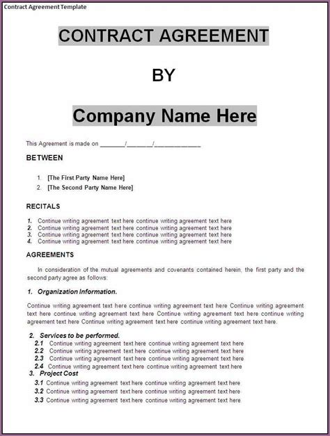 free contract templates for small business business contract template gallery template design ideas