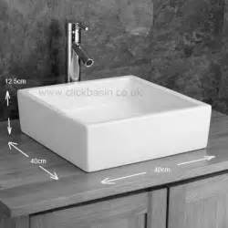 Home bergamo 40cm x 40cm square ceramic countertop bathroom sink