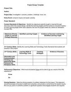 Project Based Learning Lesson Plan Template by Project Based Learning Template 1st 12th Grade