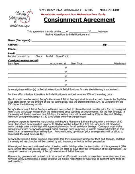 consignment shop contract template consignment agreement in word and pdf formats
