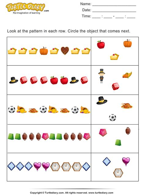 pattern questions grade 1 thanksgiving patterns worksheet 3 turtle diary