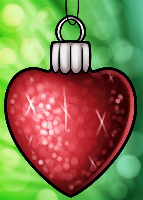 how to draw a christmas heart ornament step by step