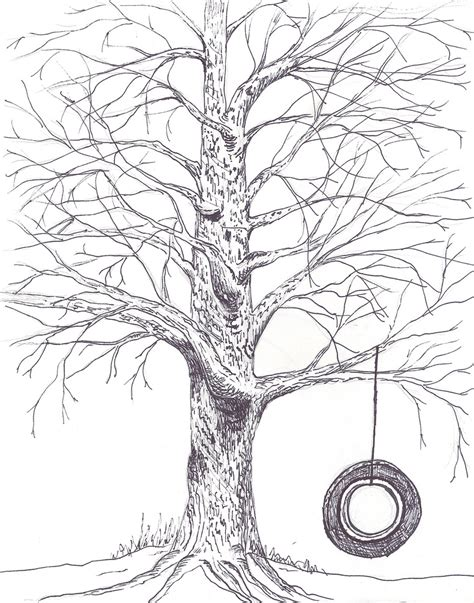tree with swing drawing pics for gt tree with tire swing drawing