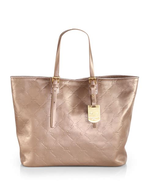 Tote Platinum longch lm cuir sted leather medium tote in gold platinum lyst