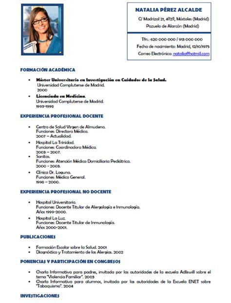 Modelo De Curriculum Vitae Para Medicos Peru Curriculum Vitae Medico Curriculum Vitae